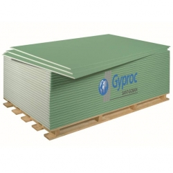Гипсокартон влагостойкий 12.5 мм Gyproc 2500х1200 3 м²